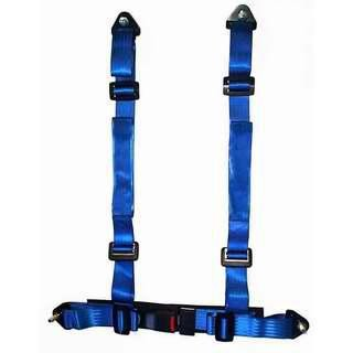 Durable Blue Nylon Racing Safety Belts With Retractor , Four Point Seat Belt