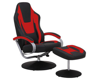 चीन Black & Red Vinyl Recliner Home Office Desk Chair With Ottoman / Adjustable Computer Chair फैक्टरी